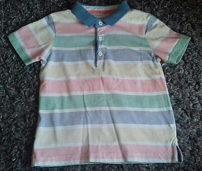 Baby Boys Matalan Multicoloured Striped Polo Shirt Top Age 2-3 Years