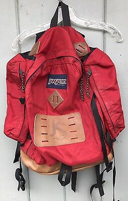Vintage Jansport Backpack Pack Made in USA Leather Day Hiking College School