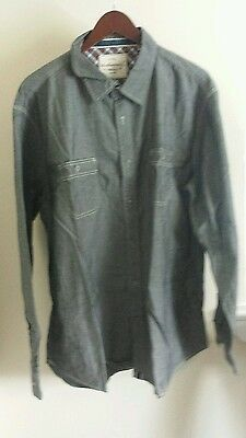 MENS WEATHERPROOF Vintage Cotton Chambray Casual dress Shirt gray black