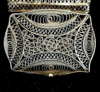 Antique Sterling Silver Filigree Pill Ring Box Hinged