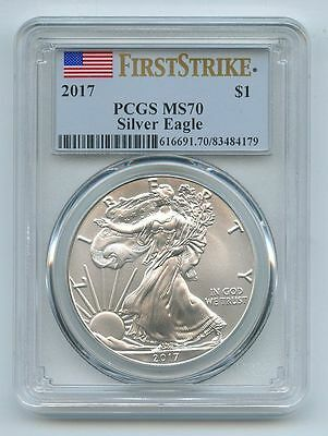 2017 $1 American 1oz Silver Eagle PCGS MS70 First Strike