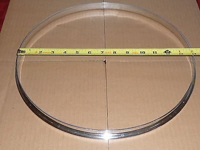 """Vintage Ludwig chrome over brass 14"""" single flange style rim for use with clips"""