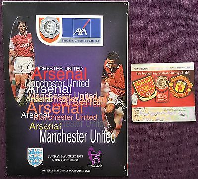 1998/99 Manchester United V Arsenal *charity Shield* Treble Season * With Ticket