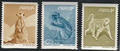 South West Africa Stamps 1980 Wildlife Coil stamps SG 366, 367 & 368 (MNH)