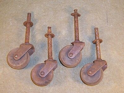 Lot of 4 Vintage Antique Wooden Wheels Casters Furniture Table Chair Dresser