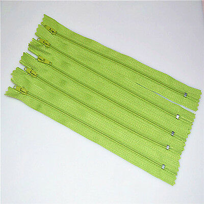 5pcs green Nylon Coil Zippers Tailor Sewer Craft 9 Inch Crafter's DIY~