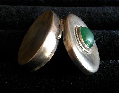 Sterling Silver Taxco Mexico Pill Ring Snuff Box Green Stone