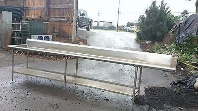 13' 10'' Left Side Clean Dish table Commercial Heavy Duty S/S Dishtable