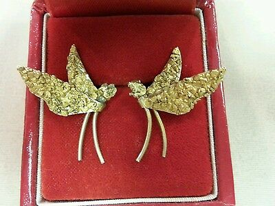 Vintage 14K Butterfly Earrings with Gold Nugget Wings-Native Alaskan