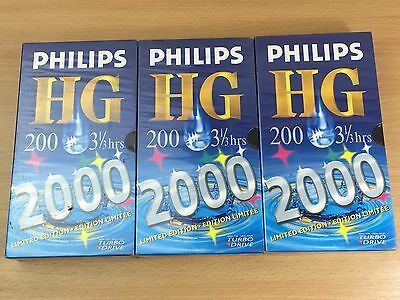 3 x Philips HG 200 Blank VHS Video Tapes 3.5-hour 2000 - NEW/SEALED