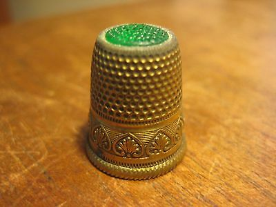 Vintage Brass Thimble  Green  Glass Top Design Band Sewing Specialty Old Antique