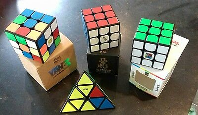 A Mixed Lot Of Four (3 Boxed) Speed Cubes