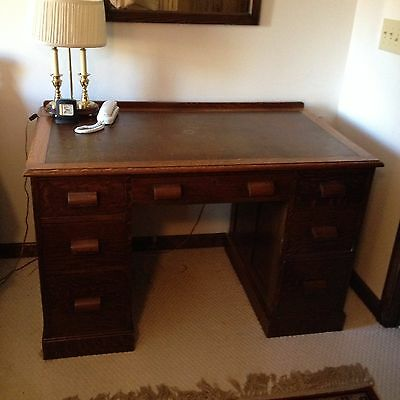Solid Oak Antique Executive Desk