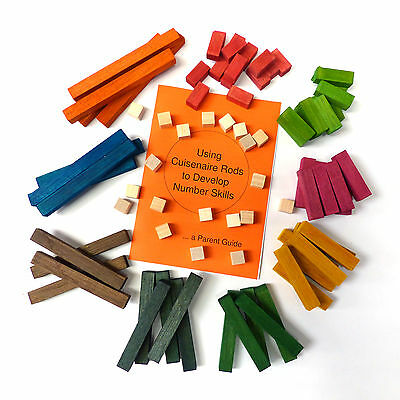 HELP with maths! 82 Wooden CUISENAIRE Rods  for PRIMARY SCHOOL + PARENT GUIDE