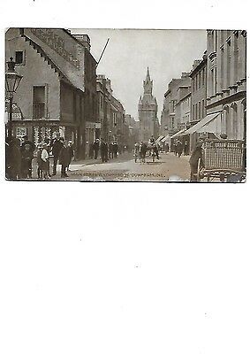 DUNFERMLINE =High Street Looking West Early RP Fife Postcard Shops Animated