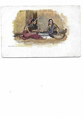ETHNIC India Postcard GHATI Women Grinding Corn