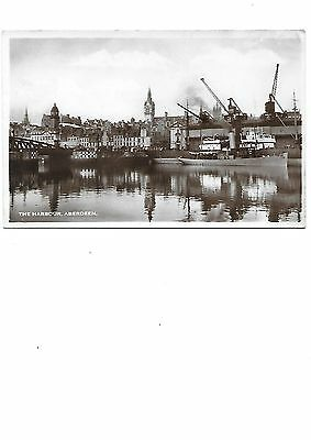 ABERDEEN The Harbour Cranes Early RP Postcard Shipping
