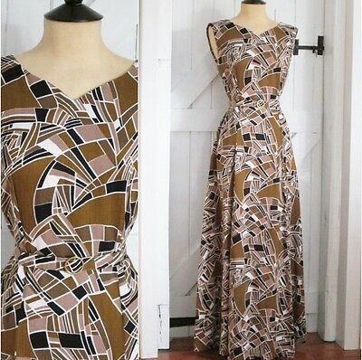 Original Vintage 70s Stunning Abstract Art Deco Print Maxi Dress & Belt 10 12
