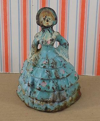 Antique Cast Iron Colonial Lady, National Foundry 1920's, Blue Dress Antebellum