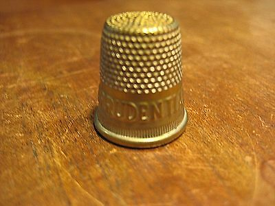 Vintage Brass Thimble  The Prudential Life Insurance Advertising  Sewing Antique