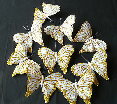 9, GOLD GLITTER REAL  FEATHER BUTTERFLIES apprrox; 10cm  CRAFT/CAKES &  DECOR