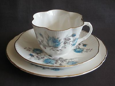 Shelley Fine Bone China  ~ Dainty Shape ~ Blue Rose Trio ~ Vintage