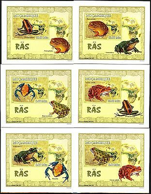 {M03} Mozambique 2007 Frogs 6 S/S DeLuxe MNH**