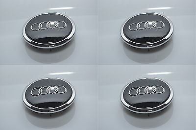 4 x GENUINE AUDI BLACK GLOSS  69mm ALLOY WHEEL CENTER CAPS OEM AUDI PART