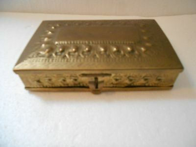 Antique Sri Lankan Asian pressed brass box w hinged lid