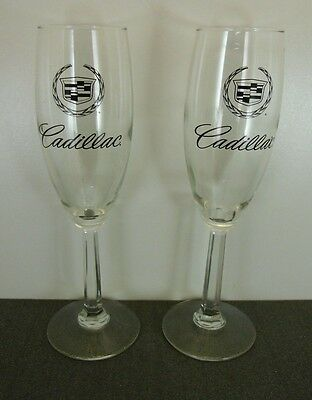 Pair of New Style Cadillac Crest Hexagon Stem Champagne Glasses Rare / HTF
