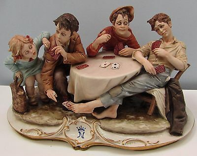 "Capodimonte Figure Figurine Rare Version of "" Card Cheats."" by Bruno Merli"