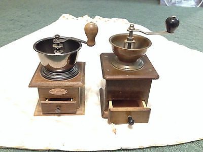 Antique Vtg Manual Spice Coffee Seed Herb Grinders Mills 2 Lot! Hand Crank Usa