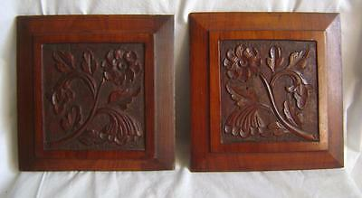 Antique Pair Carved Wood Panels:  Raised & Fielded Walnut  C.1900