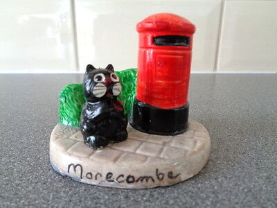 Vintage Manor Ware Post Box with a cat. Souvenir from Morecombe
