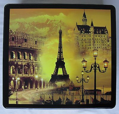 Vintage Charles Delacre Tin (empty) - Eiffel Tower & Other European Landmarks