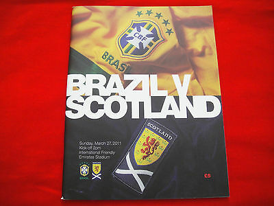 SCOTLAND v BRAZIL INTERNATIONAL FRIENDLY FOOTBALL PROGRAMME 27th MAR 2011