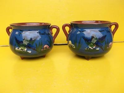 658 / Lovely Pair Of Early 20Th Century Terracotta Southsea Motto Ware Cauldrons