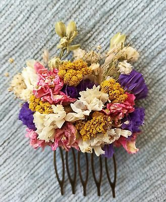 Dried flower hair comb, vibrant colourful hair comb, bridal, slide, accessory