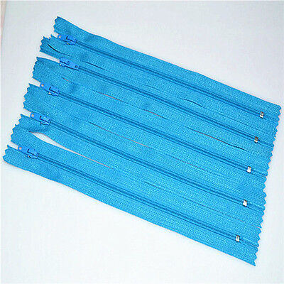 Light blue 5pcs Nylon Coil Zippers Tailor Sewer Craft 9 Inch Crafter's DIY~