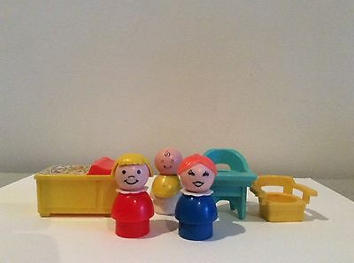 Fisher Price Vintage Little People baby bundle, high chair, changing table