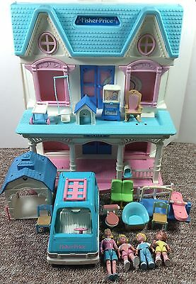 Vintage Fisher Price Loving Family 6364 DollHouse Folding With Accessories