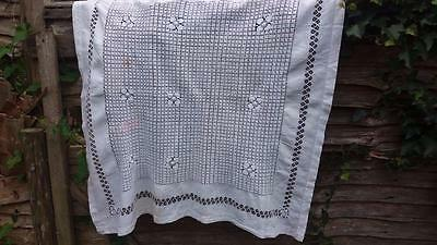 Vintage Victorian Tablecloth Tenerife Work White Linen 39X44""