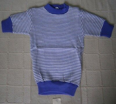 Vintage Girls Skinny Rib Top- Age 12 - Purple/White Stripe - Short-Sleeve  - New