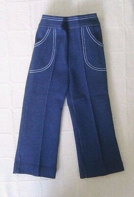 Vintage Stretch Trousers - Age 2-3 Approx - Navy Marl - Elastic Waist - New