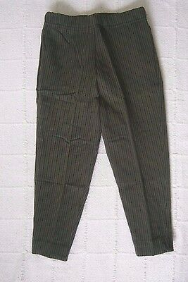 Vintage Stretch Cropped Trousers - Age 6 -Olive/Black Stripe - New