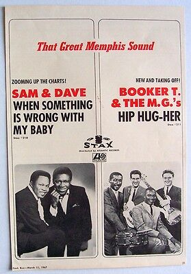 SAM & DAVE BOOKER T. & THE M.G.'S 1967 Poster Ad I STAX RECORDS hip hug-her