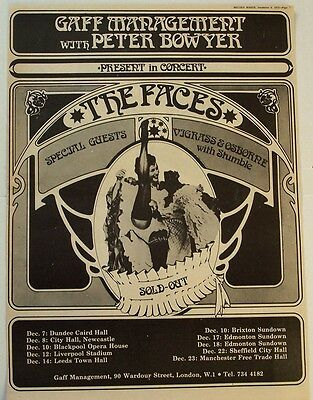 FACES 1972 Poster Ad UK CONCERT TOUR rod stewart