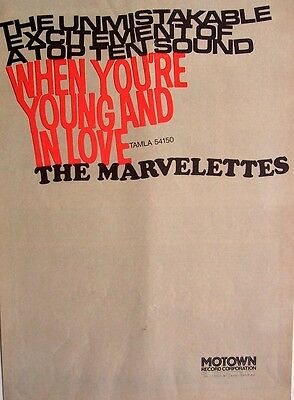THE  MARVELETTES 1967 Poster Ad WHEN YOU'RE YOUNG AND IN LOVE motown