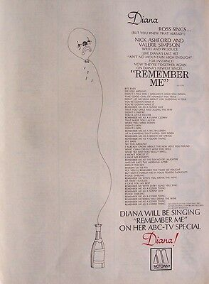 DIANA ROSS 1971 Poster Ad REMEMBER ME supremes