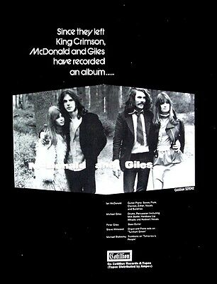 McDONALD AND GILES 1970 Poster Ad king crimson